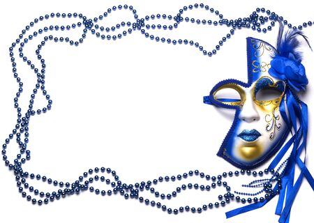 frame of beads and mask on Mardi Gras blue with gold on white background Imagens
