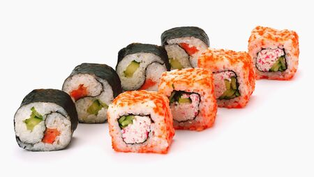 two kinds of sushi rolls white background. Japanese cuisine Imagens