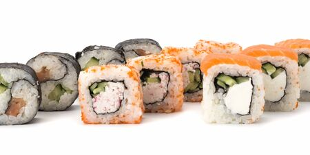 three kinds of sushi rolls white background. Japanese cuisine Imagens