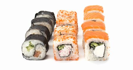 sushi roll with salmon, shrimp, avocado, cream cheese on white background Imagens