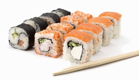 sushi roll with salmon, shrimp, avocado, cream cheese on a white background with sticks