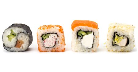 variety of sushi roll on white background Japanese cuisine