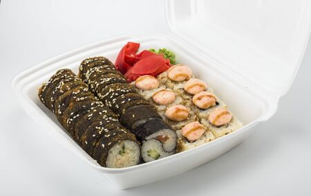 delivery of hot sushi rolls in a package.