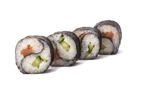 group of Yin Yang Maki sushi isolated on white background.