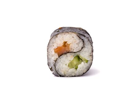 yin yang maki sushi isolated on white background.