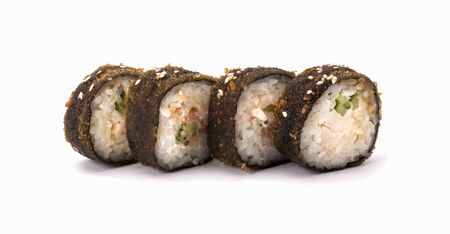 Hot fried sushi roll . The sushi menu. Japanese cuisine.