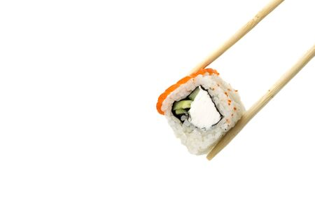wooden sticks holds sushi on a clean white background.