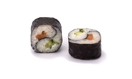 two Yin Yang Maki sushi isolated on white background.