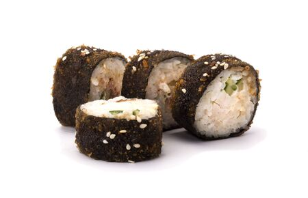 Hot fried sushi roll with shrimp, cucumber and Philadelphia cheese. The sushi menu. Japanese cuisine. Imagens