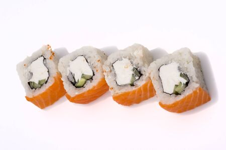 sushi rolls Philadelphia on a white background top view.