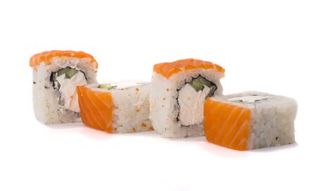 Delicious fresh sushi rolls with salmon and Philadelphia cheese on a white background.
