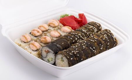 delivery of hot sushi roll in white packaging.