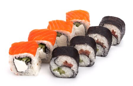 two kinds of delicious sushi roll on a white background. Imagens