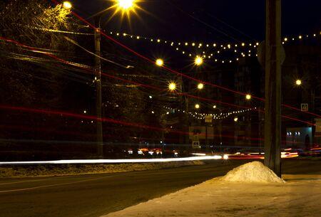 December 29, 2019 Russia Novocheboksarsk.the lights of the night city roads. Stockfoto