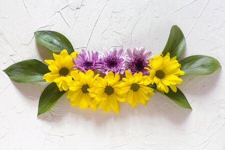 a composition of yellow and purple chrysanthemums lay flat against a white background.