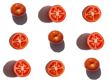 Tomato seamless photographic pattern on white background.
