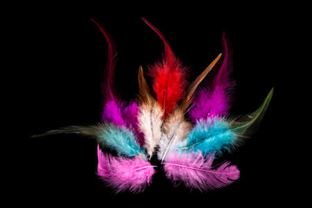 red feathers in the shape of a burning fire on a black background Imagens