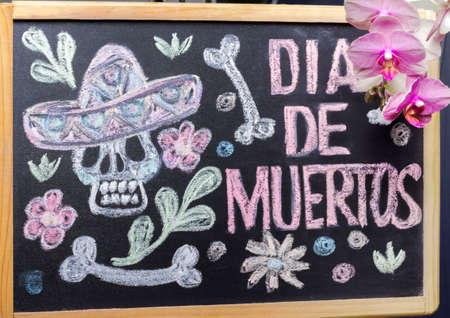 Halloween Dia De Los Muertos Celebration Background with painted Skull and Orchid flower