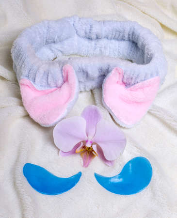 fur patch and blue eye patches with Orchid on white fur background