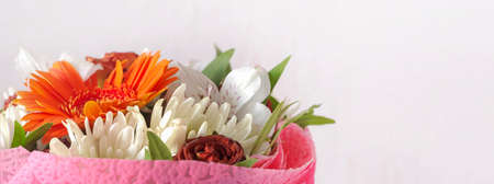 bouquet of flowers on a white background with a copy of the space Imagens