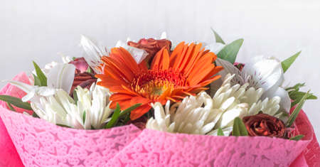 bouquet of flowers with gerbera and chrysanthemums on a white background