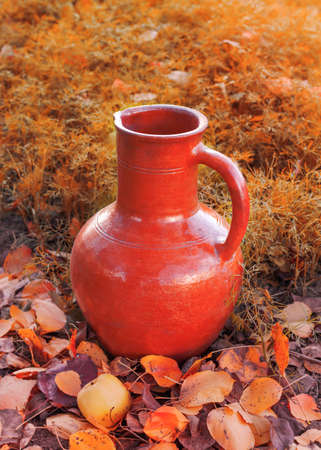 a bright old jug stands on the ground against the background of autumn nature