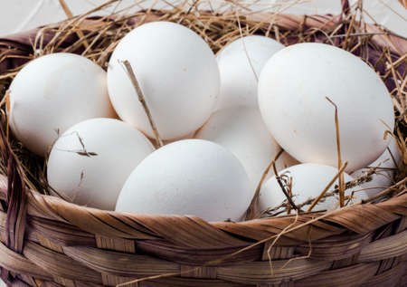 white chicken eggs in a hay basket close-up