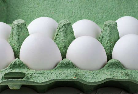 white chicken eggs in a green container close up