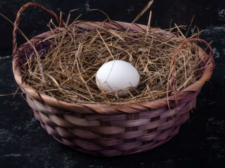 one chicken egg in a basket with hay on a dark background