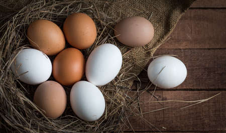 brown and white eggs in a sleepy nest on a brown wooden background with burlap
