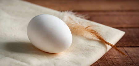a whole white egg with a feather on a white napkin, on a wooden table 免版税图像