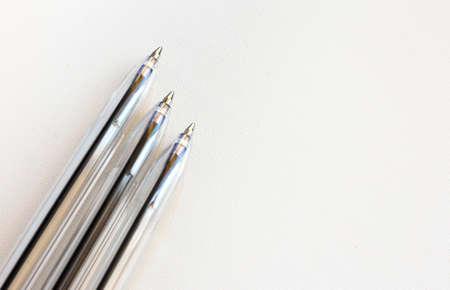 ballpoint pens on a white background close-up 免版税图像