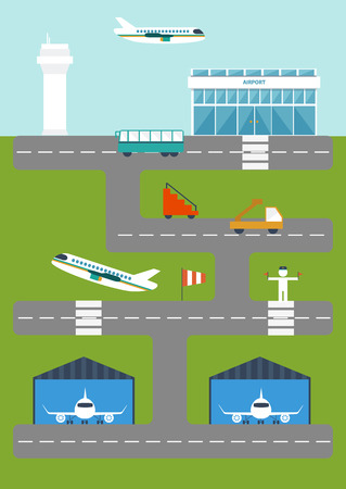wingspan: illustration with airport for your design
