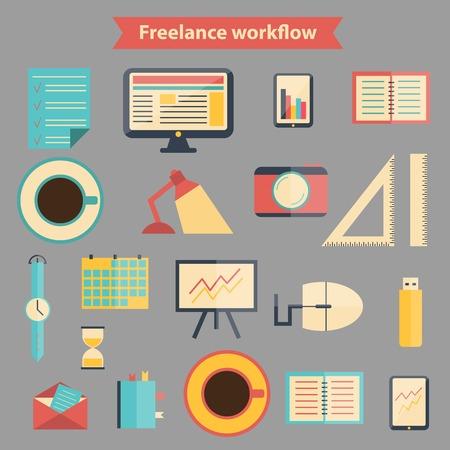 freelance: Set of flat freelance workflow icons for your design Illustration