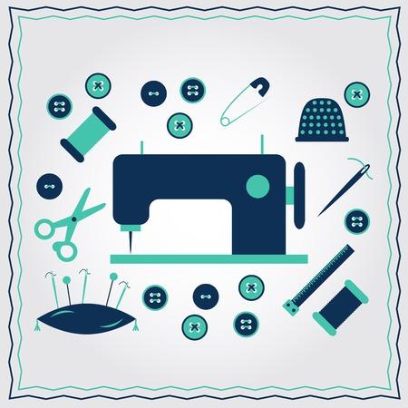 needlework: Set of flat needlework icons for your design