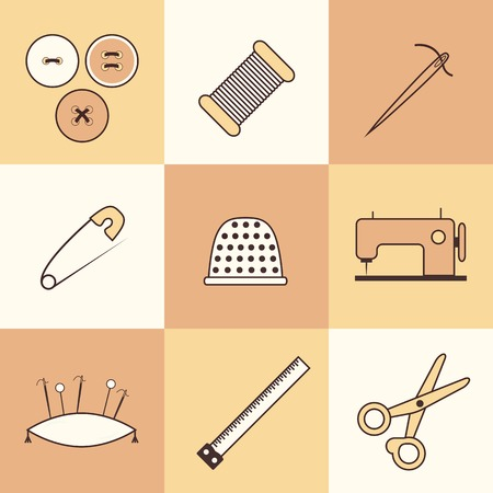 needlework: Set di icone sottili ricamo per la progettazione