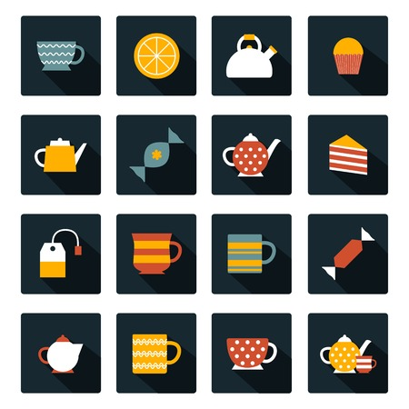 for tea: Set of flat tea time icons for your design