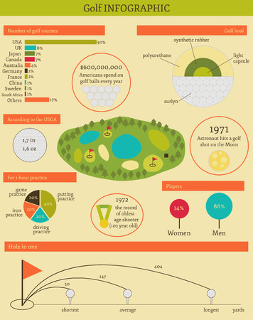 Vector illustration with golf infographic for your design Vector