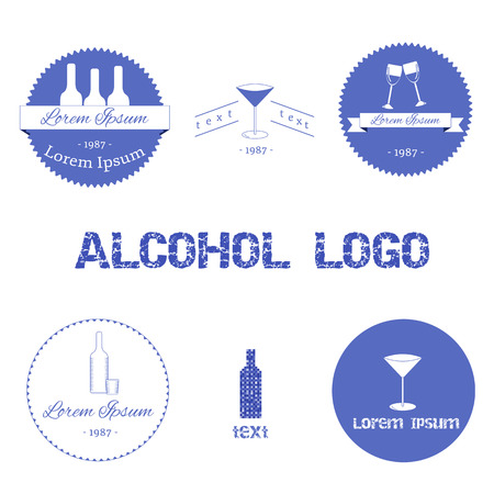 Set of alcohol logos for your design Vector