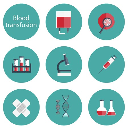 blood test: Set of flat blood transfusion icons for your design Illustration