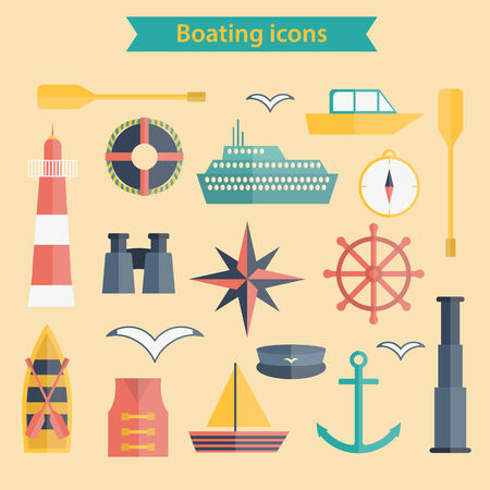 barque: Set of flat boating icons for your design