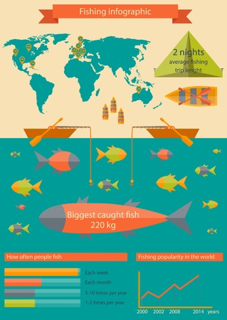 Vector illustration with fishing infographic for your design Vector