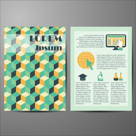 computer repair concept: Template with geometric cover for flyers or booklets for your design Illustration