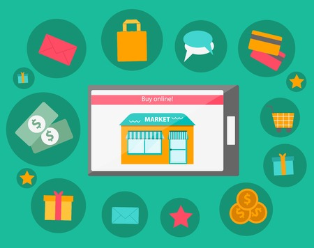 Vector illustration on online shopping theme for your design Vector