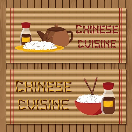thai noodle: Template for booklet, menu or flyer with objects on chinese cuisine theme for your design Illustration