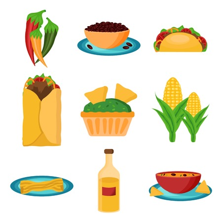 Set of cartoon mexican food for your design Vector
