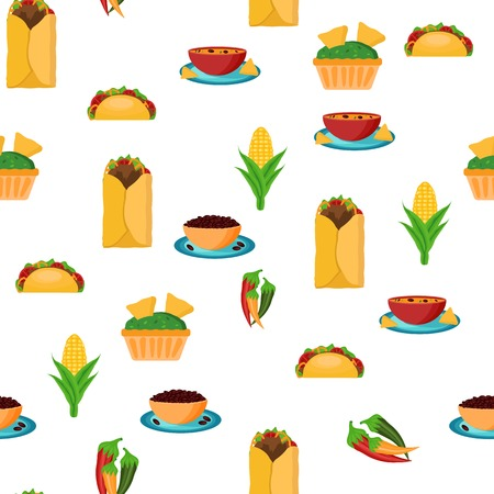 Seamless backgound with cartoon mexican food for your design Vector