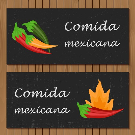 Template for menu or booklet with cartoon mexican food for your design Vector