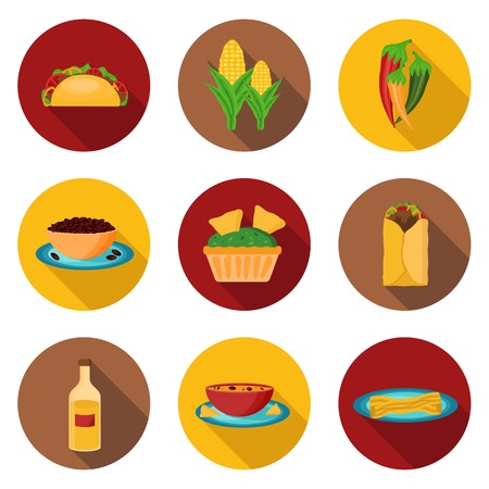 burrito: Set of mexican food icons for your design