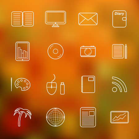 freelance: Set of simple thin freelance icons for your design